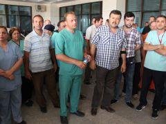 Devlet Hastanesi'nde 'maaş' eylemi